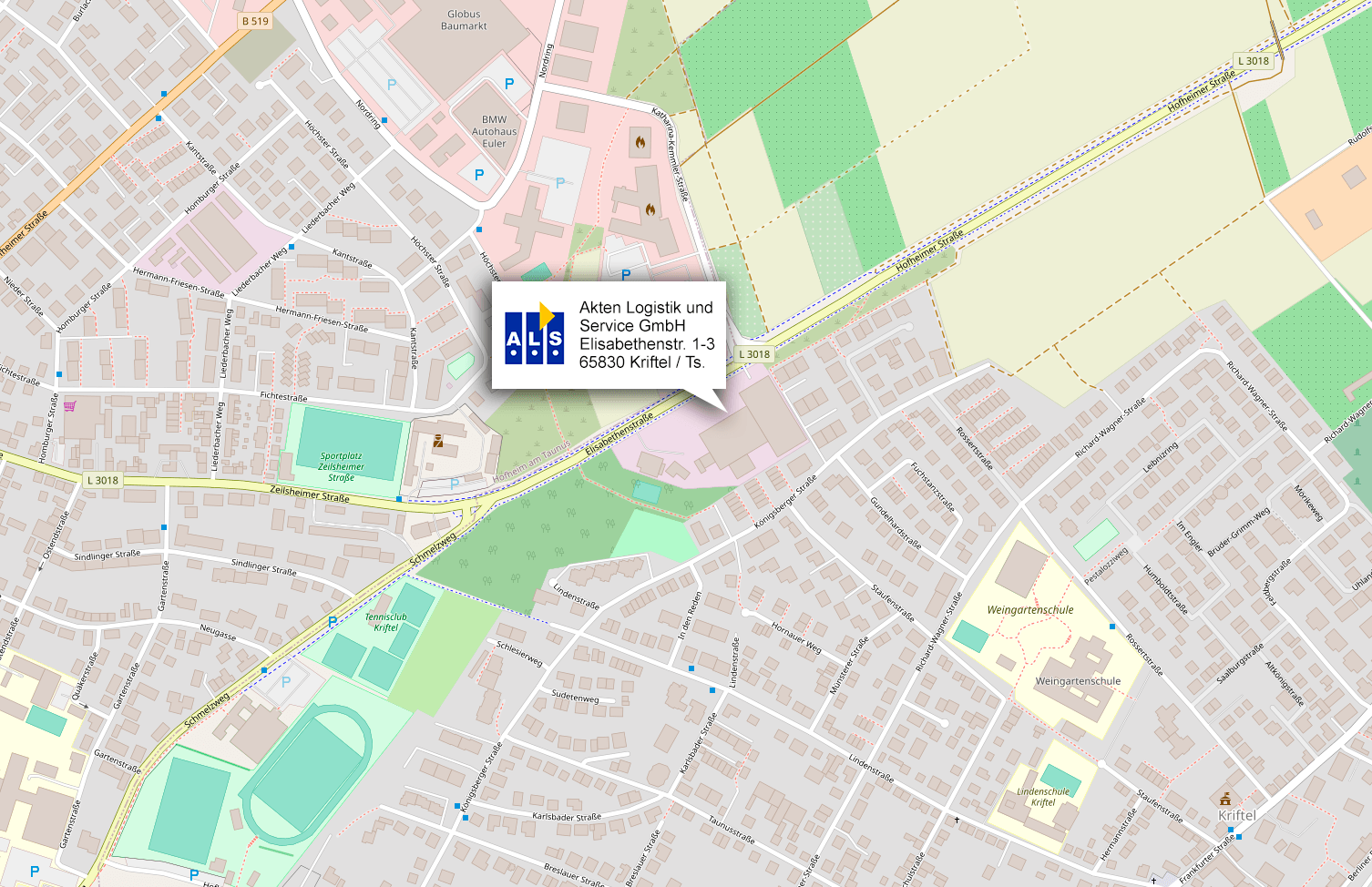 Anfahrtskarte zu Akten Logistik Service GmbH, Kriftel
